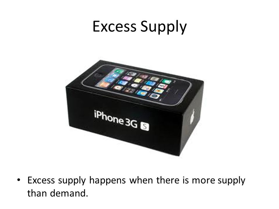 Excess Supply Excess supply happens when there is more supply than demand.