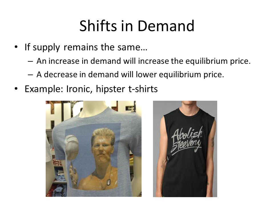 Shifts in Demand If supply remains the same…