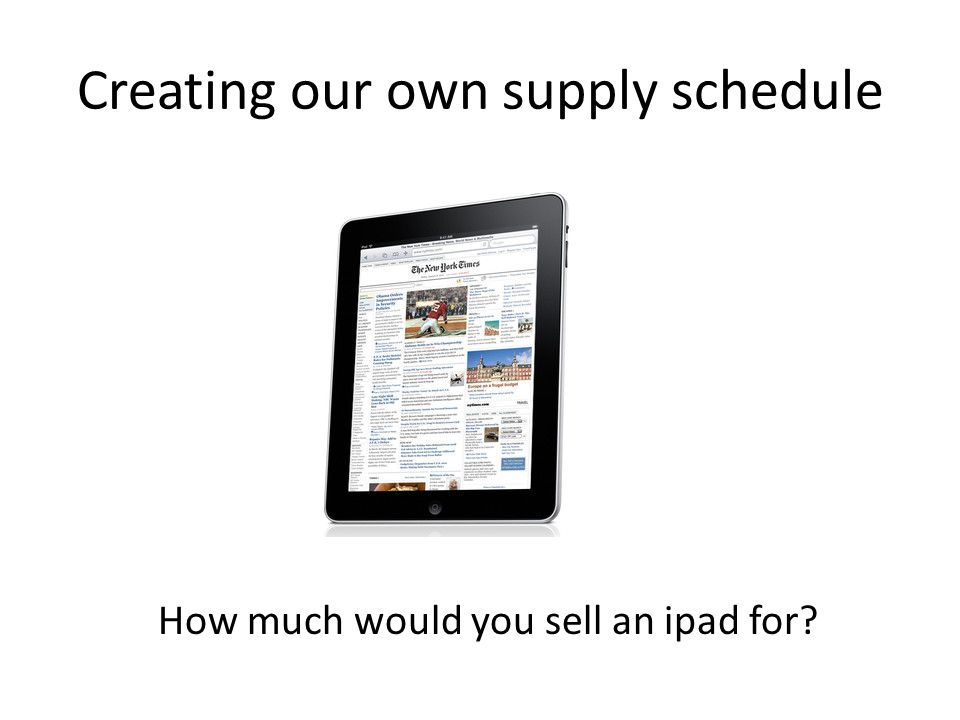 Creating our own supply schedule