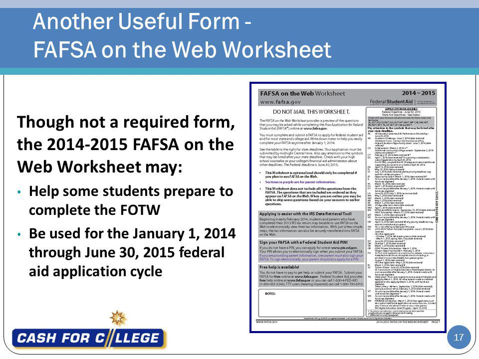 Another Useful Form - FAFSA on the Web Worksheet