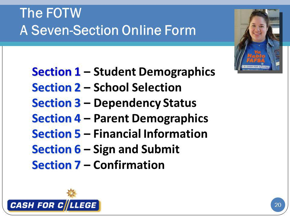 The FOTW A Seven-Section Online Form