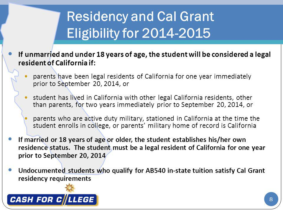 Residency and Cal Grant Eligibility for 2014-2015