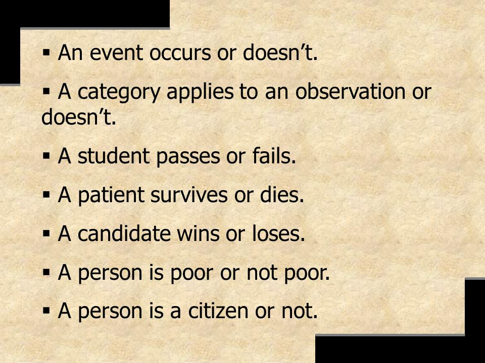 An event occurs or doesn't.