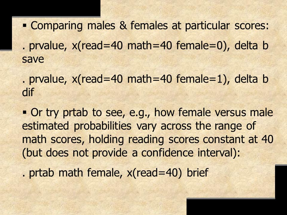Comparing males & females at particular scores: