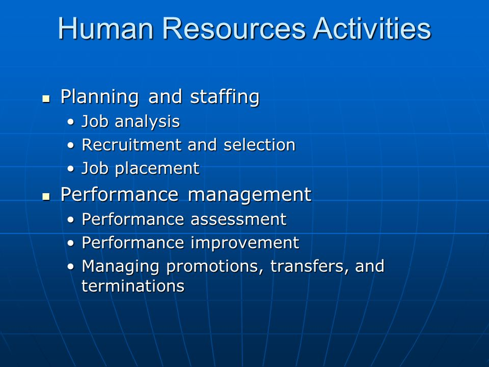 Human Resources Activities
