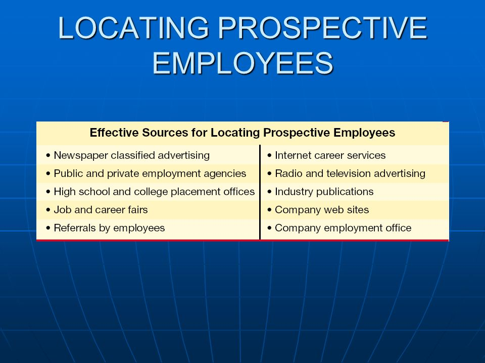LOCATING PROSPECTIVE EMPLOYEES