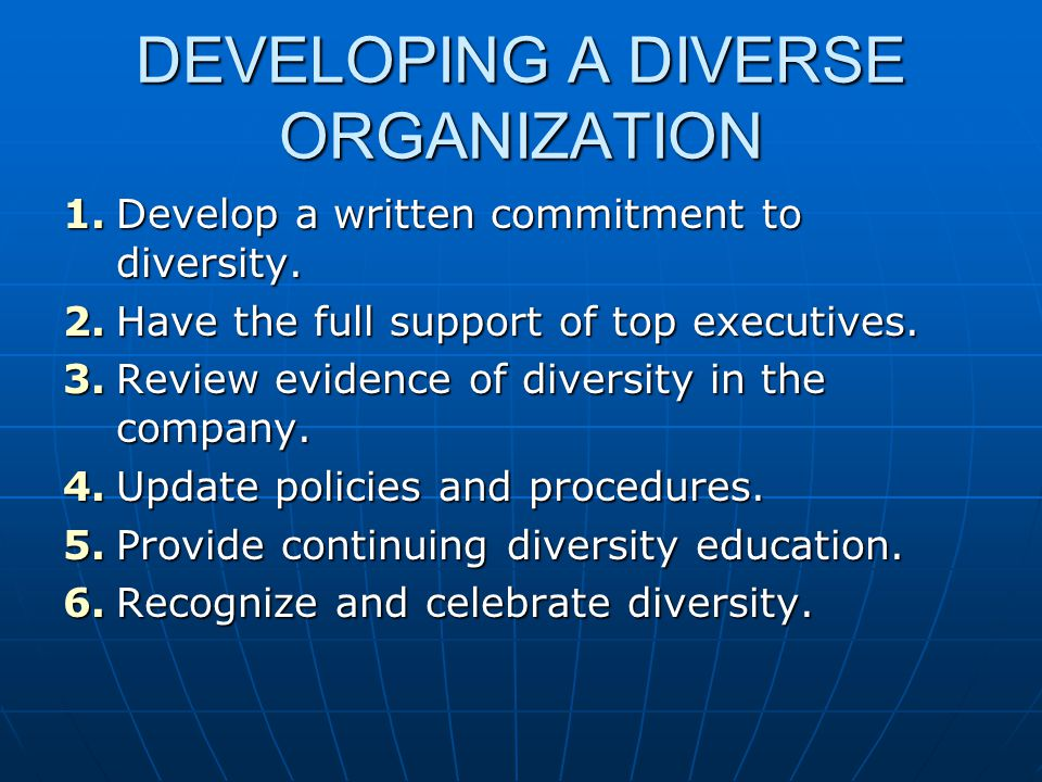 DEVELOPING A DIVERSE ORGANIZATION