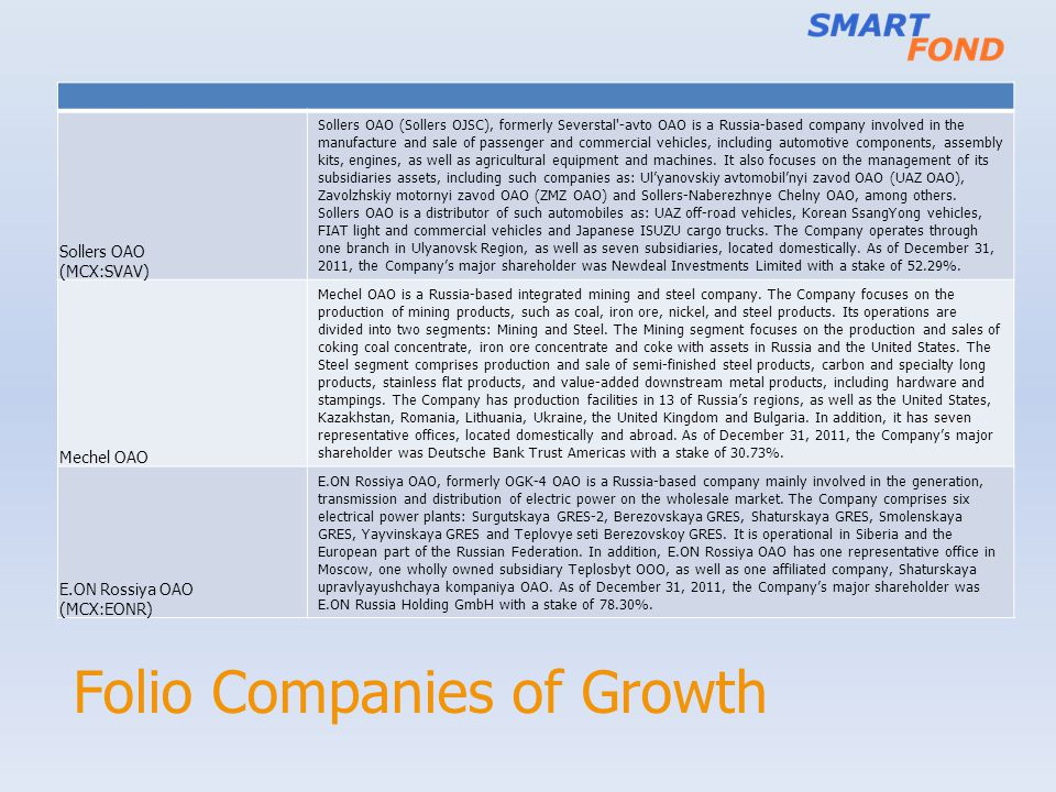 Folio Companies of Growth