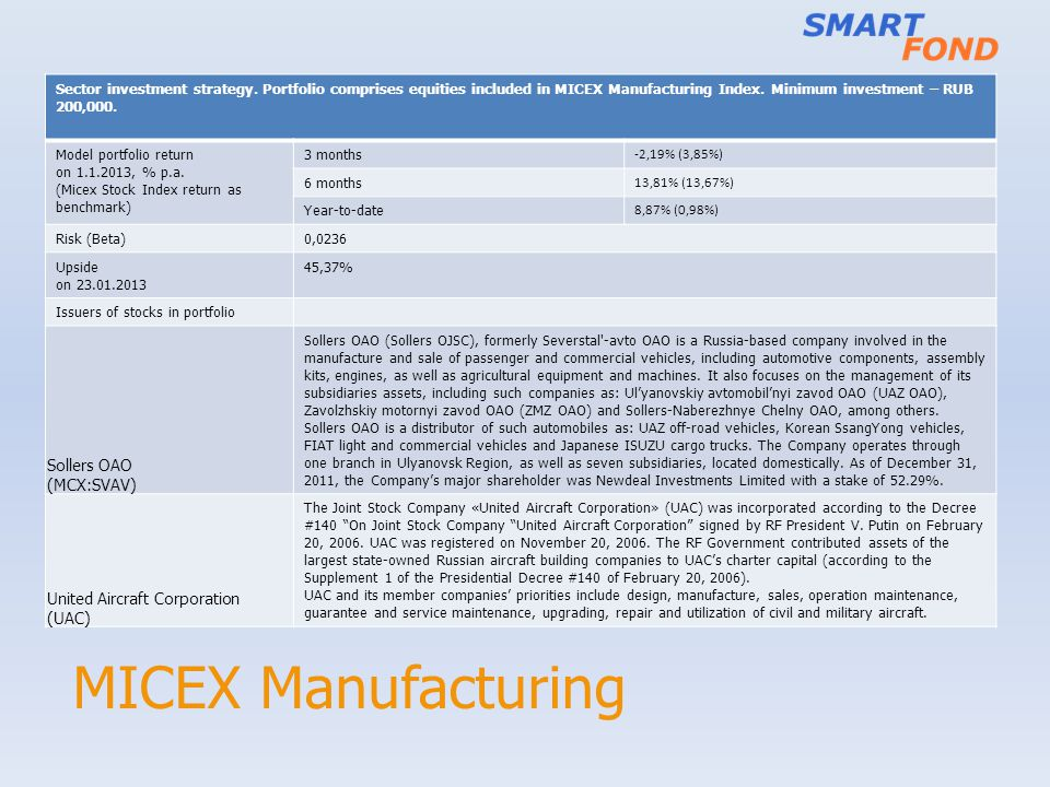 MICEX Manufacturing Sollers OAO (MCX:SVAV) United Aircraft Corporation