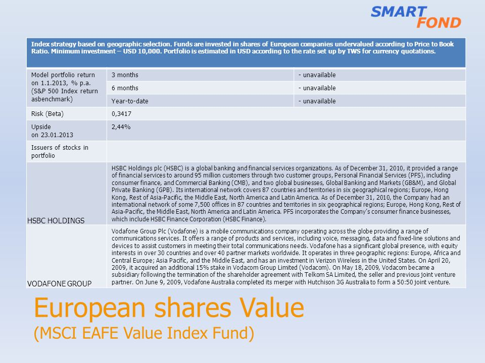 European shares Value (MSCI EAFE Value Index Fund)