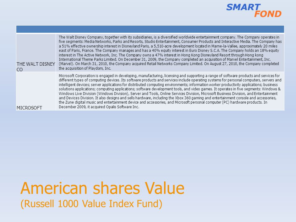 American shares Value (Russell 1000 Value Index Fund)