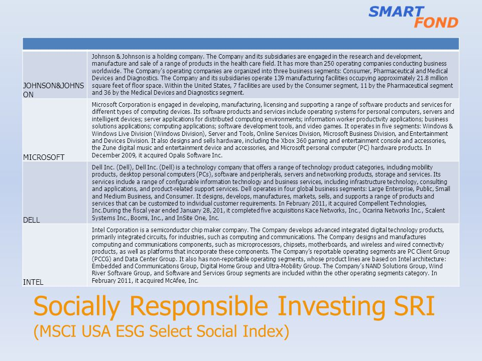 Socially Responsible Investing SRI (MSCI USA ESG Select Social Index)