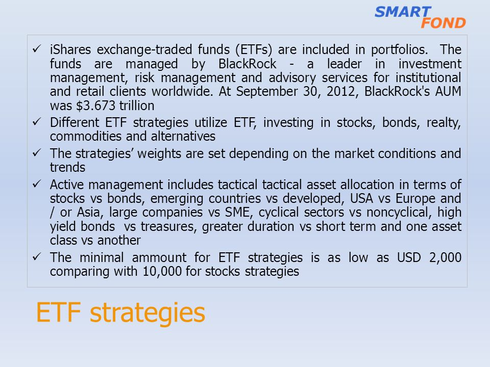 iShares exchange-traded funds (ETFs) are included in portfolios