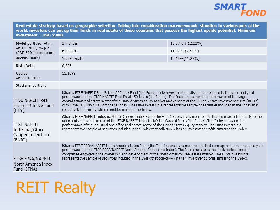 REIT Realty FTSE NAREIT Real Estate 50 Index Fund (FTY)