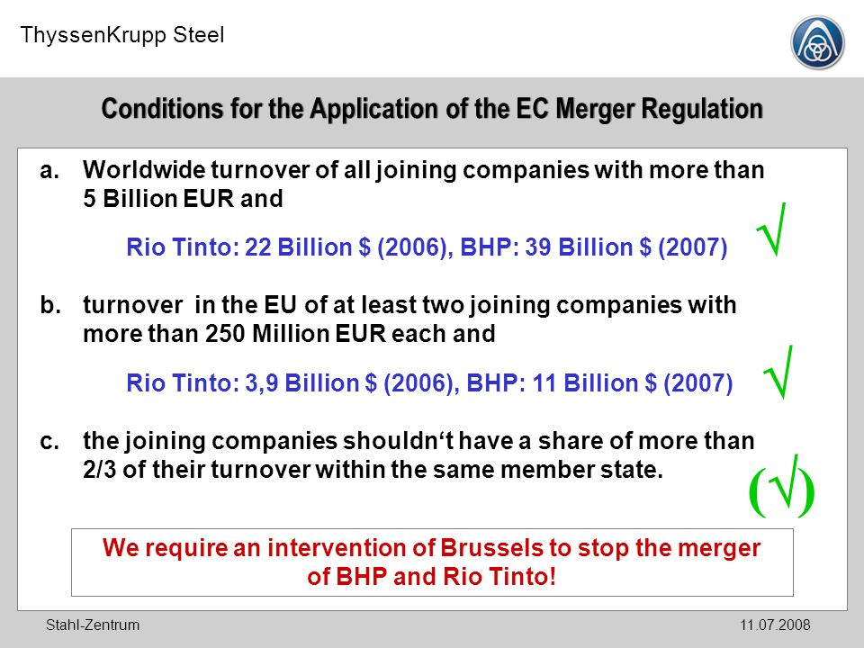 Conditions for the Application of the EC Merger Regulation