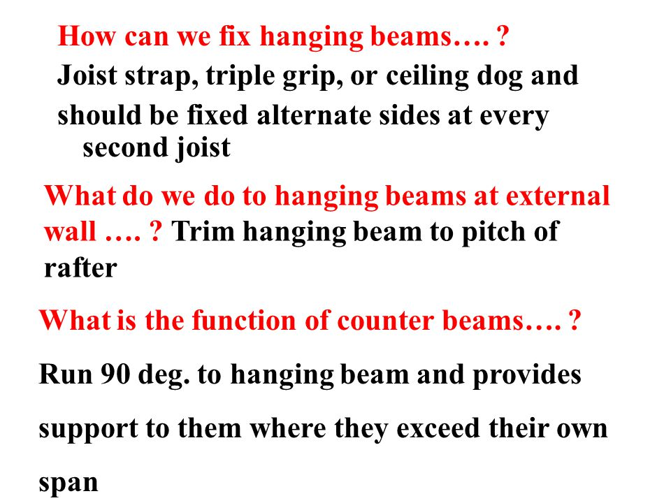 How can we fix hanging beams….