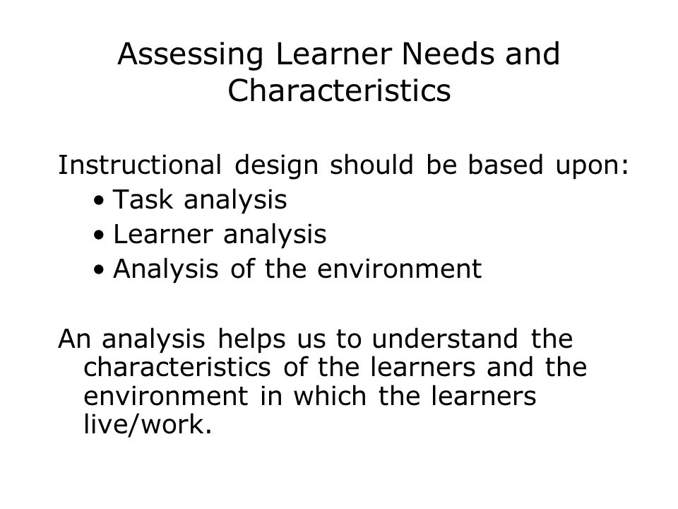 Assessing Learner Needs and Characteristics