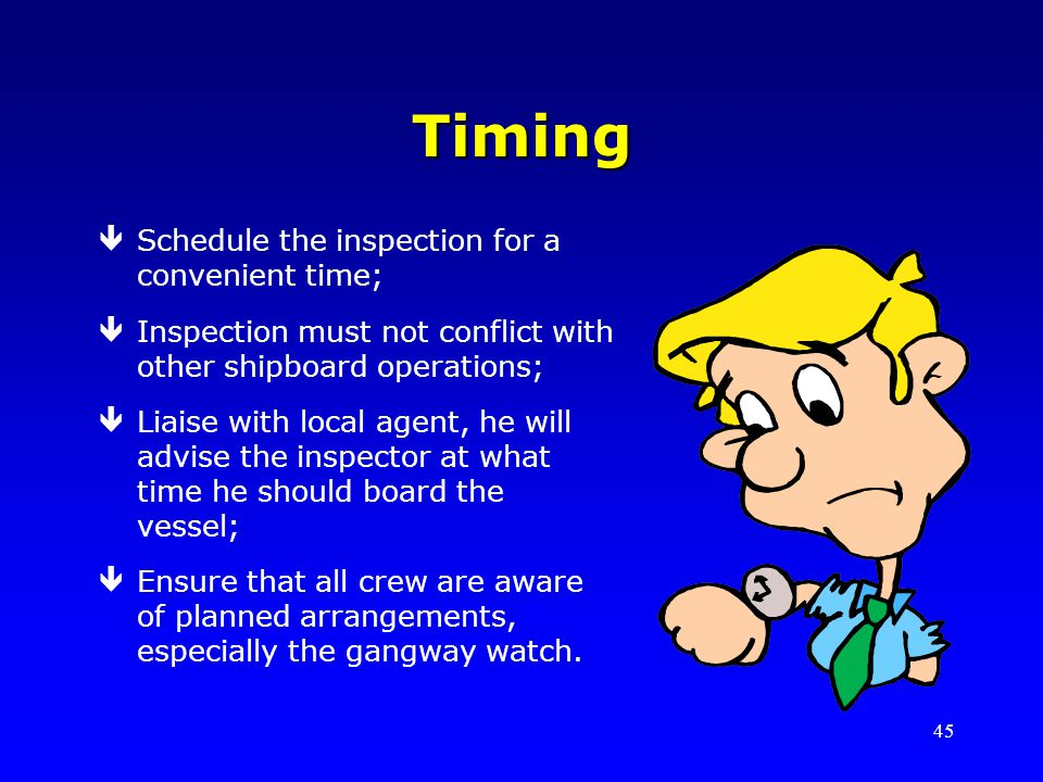 Timing Schedule the inspection for a convenient time;