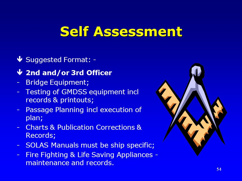 Self Assessment Suggested Format: - 2nd and/or 3rd Officer