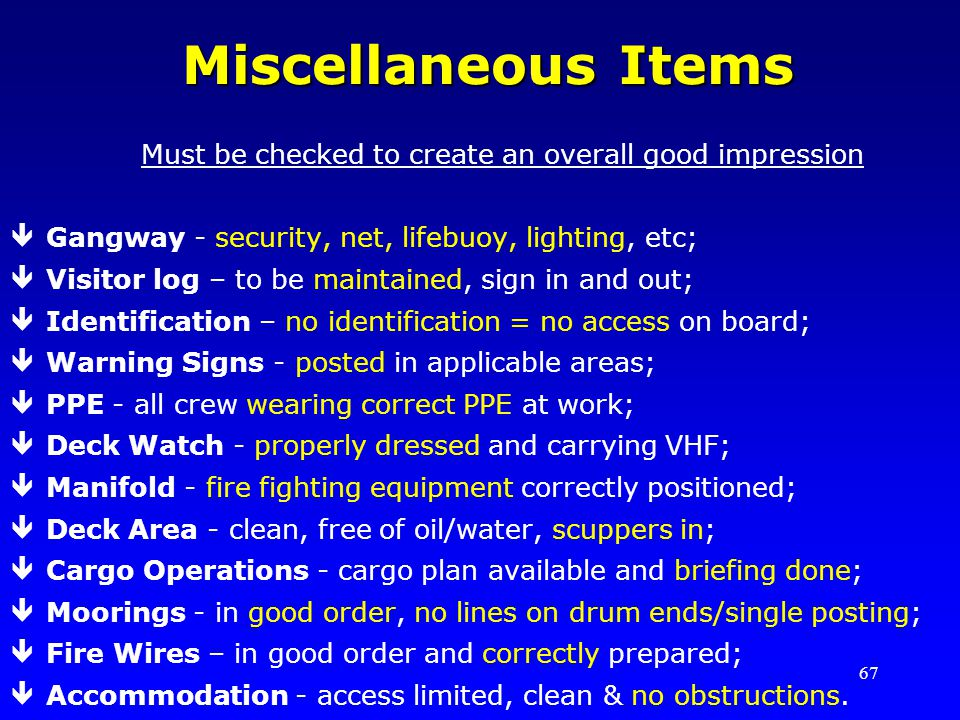 Miscellaneous Items Must be checked to create an overall good impression. Gangway - security, net, lifebuoy, lighting, etc;