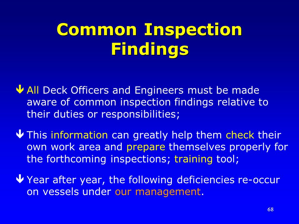 Common Inspection Findings