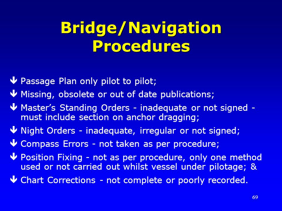 Bridge/Navigation Procedures