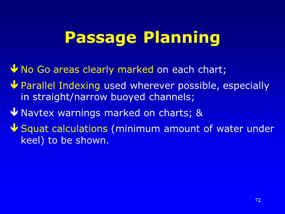 Passage Planning No Go areas clearly marked on each chart;