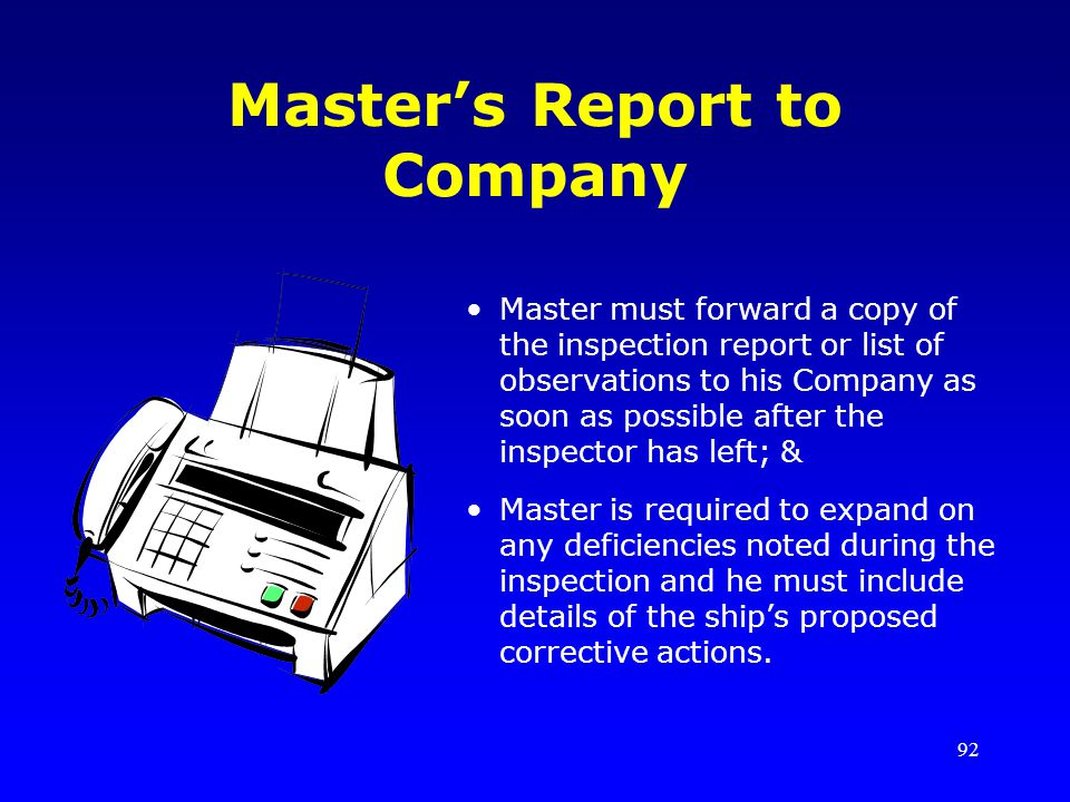 Master's Report to Company