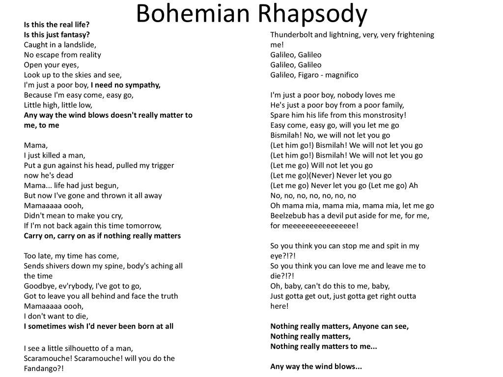 """AP Agenda Analyze """"Bohemian Rhapsody"""" for existential"""