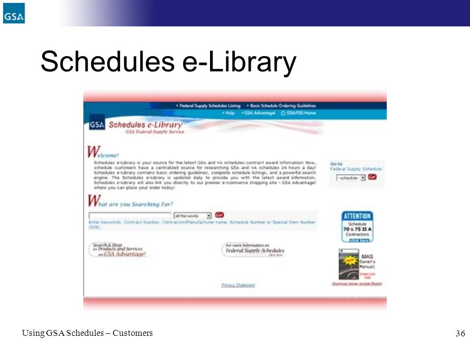 Schedules e-Library