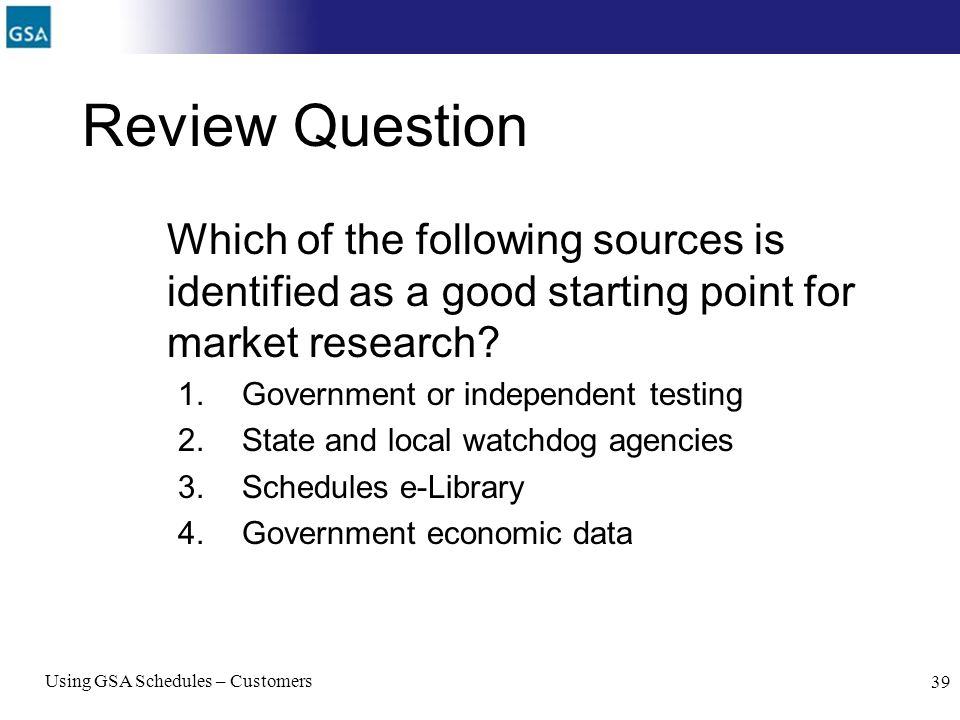 Review Question Which of the following sources is identified as a good starting point for market research