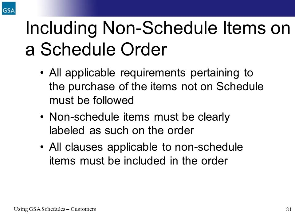 Including Non-Schedule Items on a Schedule Order