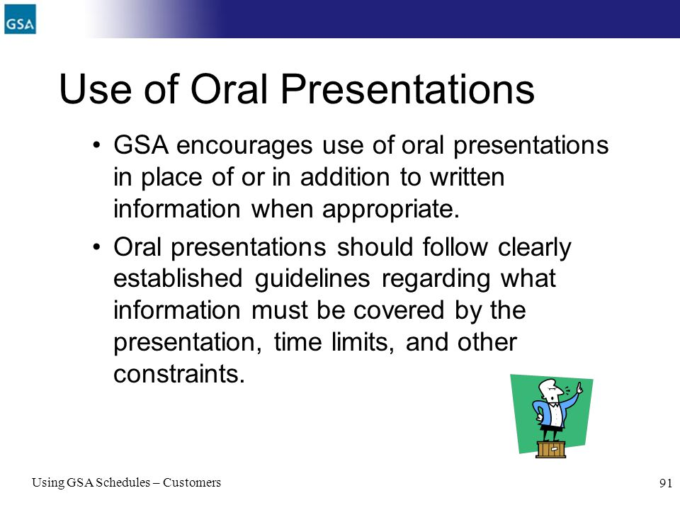 Use of Oral Presentations