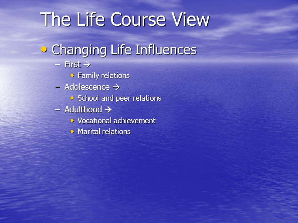 The Life Course View Changing Life Influences First  Adolescence 