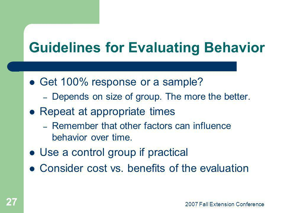 Guidelines for Evaluating Behavior