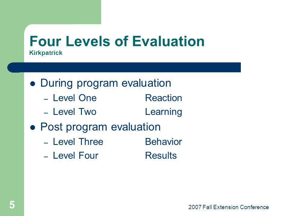 Four Levels of Evaluation Kirkpatrick