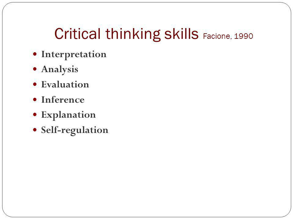 critical thinking facione 1990
