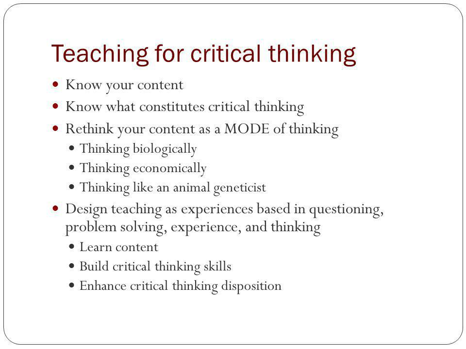 building critical thinking skills review Critical thinking is paramount to the development of students and should be the goal of all teachers no matter what subject they teach teachers should consider building critical thinking skills in all the rubrics and lesson plans hey use in their classrooms critical thinking skills can be taught in any.