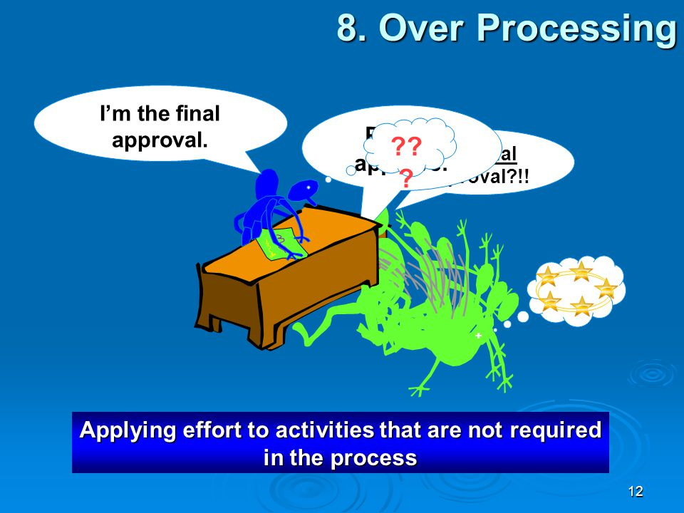 Applying effort to activities that are not required in the process