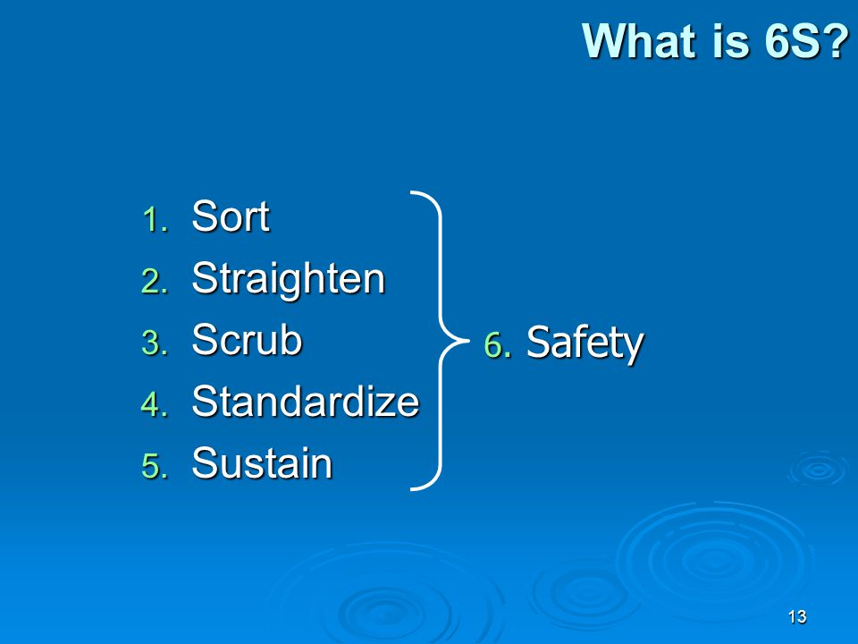 What is 6S Sort Straighten Scrub Standardize Sustain Safety