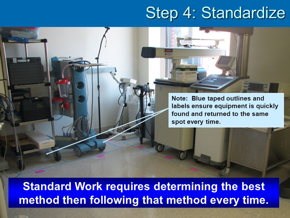 Step 4: Standardize Note: Blue taped outlines and labels ensure equipment is quickly found and returned to the same spot every time.