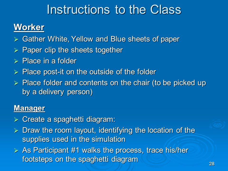 Instructions to the Class