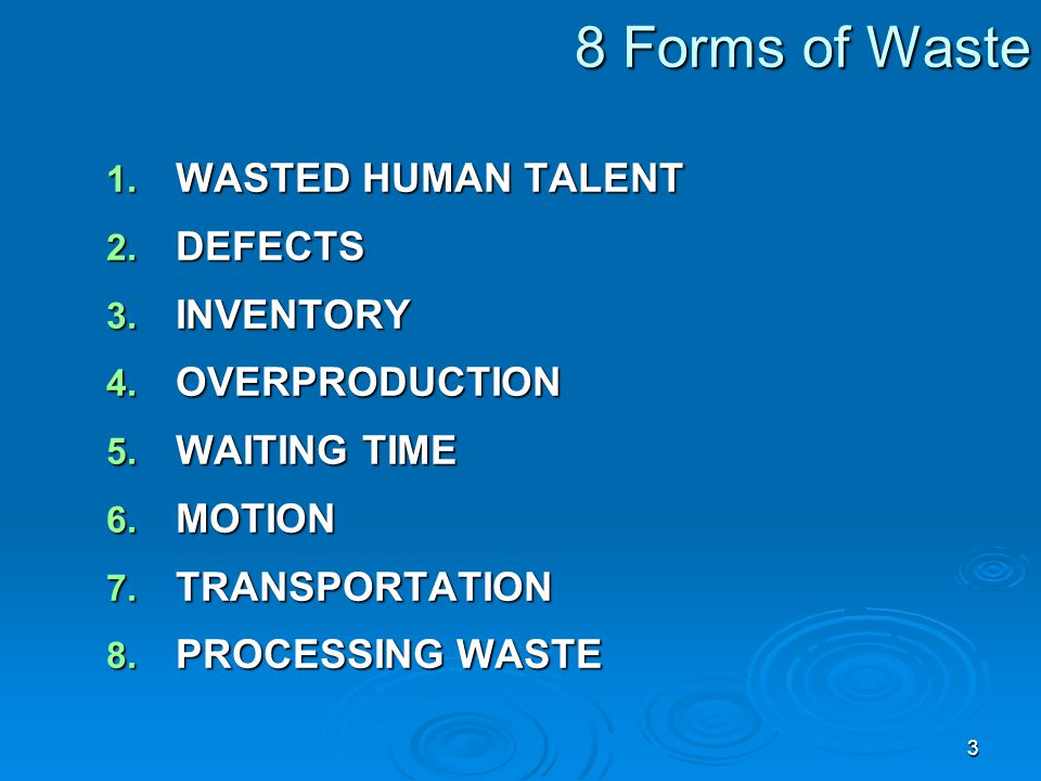 8 Forms of Waste WASTED HUMAN TALENT DEFECTS INVENTORY OVERPRODUCTION