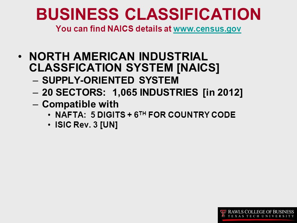 BUSINESS CLASSIFICATION You can find NAICS details at www.census.gov