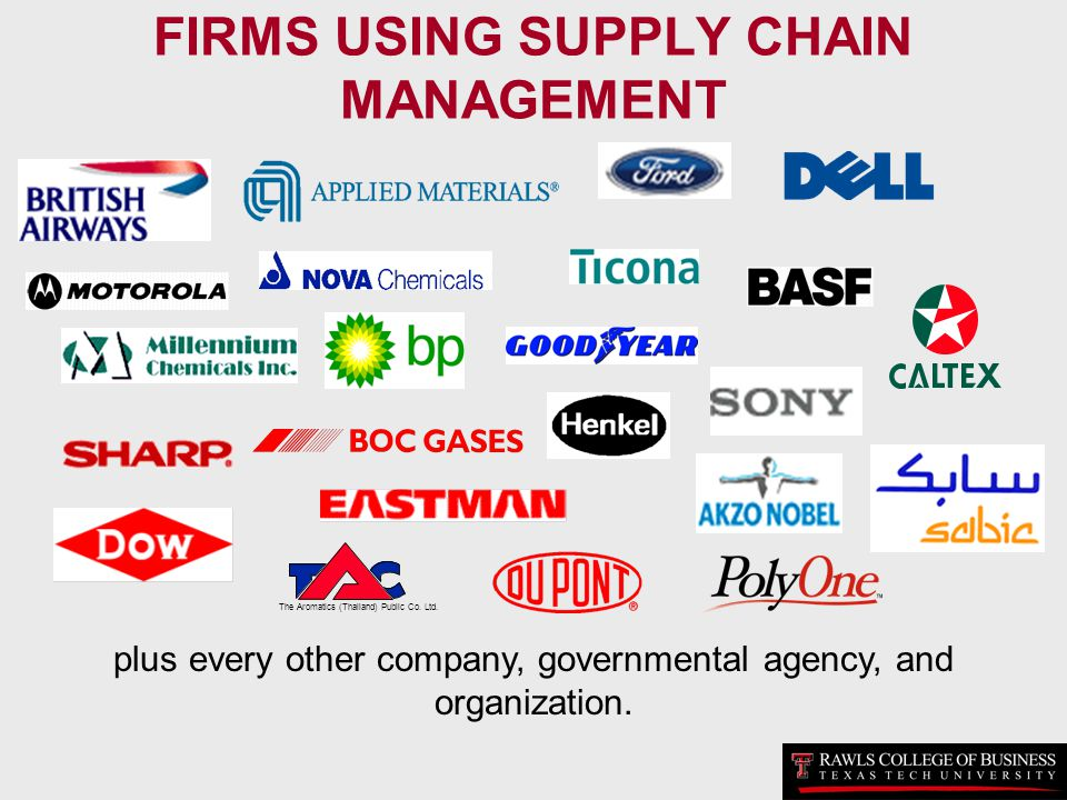 FIRMS USING SUPPLY CHAIN MANAGEMENT