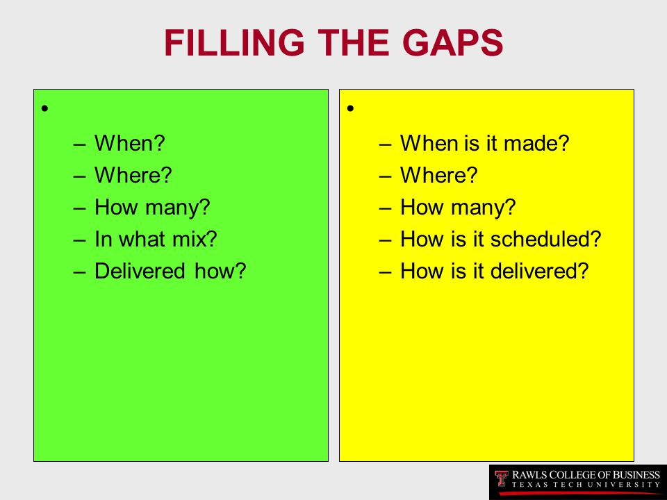 FILLING THE GAPS When Where How many In what mix Delivered how