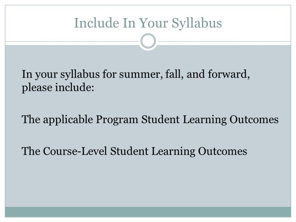 Include In Your Syllabus