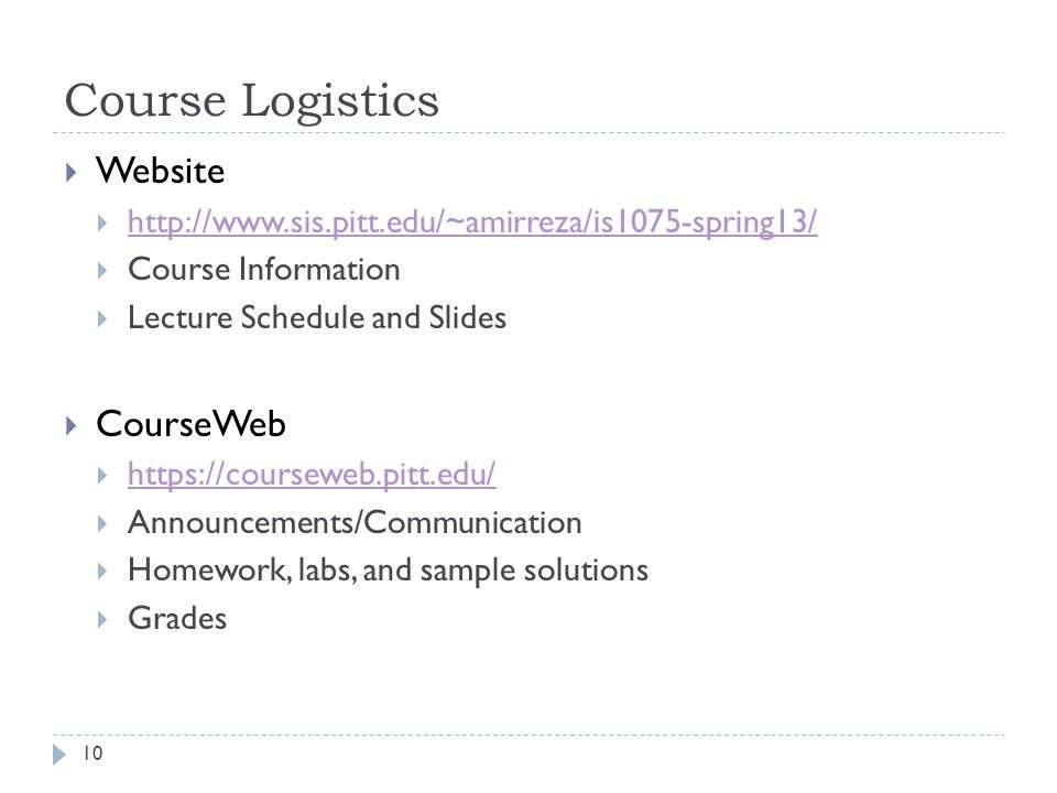 Course Logistics Website CourseWeb