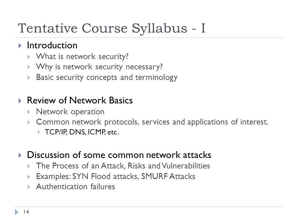 Tentative Course Syllabus - I