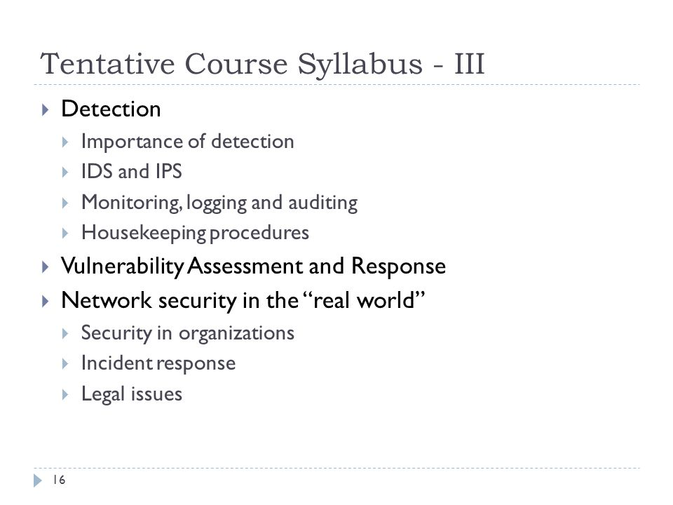 Tentative Course Syllabus - III